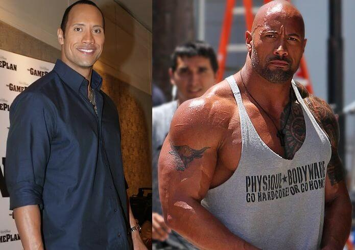 Dwayne Johnson before and after weight gain