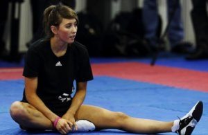 Jade Jones resting during training