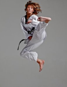 Jade Jones in an acrobatic taekwondo move