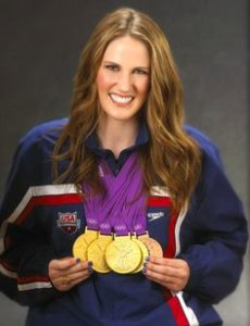 Missy Franklin with 5 medals on her neck