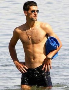 Novak Djokovic body shirtless on the beach