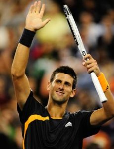 Novak Djokovic thanking the fans support
